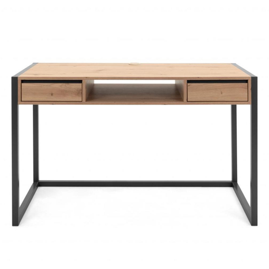 Hercules Wooden Computer Desk In Artisan Oak And Anthracite