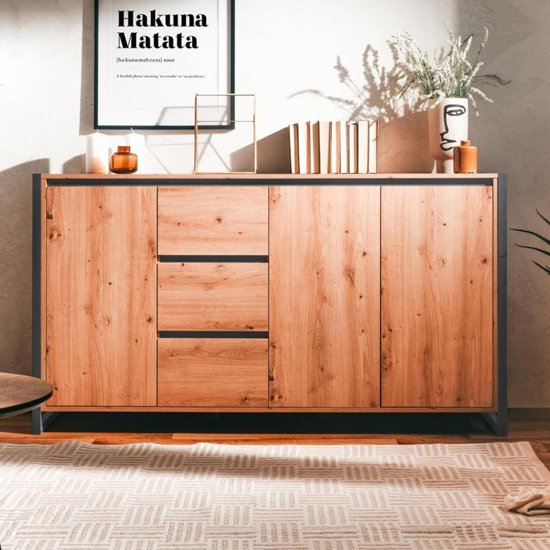 Hercules Large Wooden Sideboard In Artisan Oak And Anthracite
