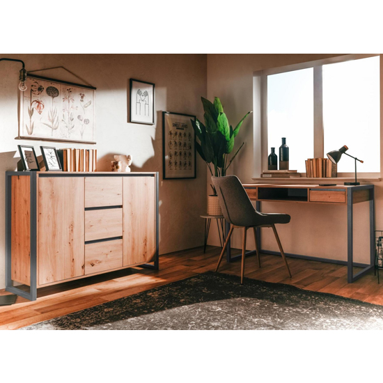 Hercules Wooden Sideboard In Artisan Oak And Anthracite_6