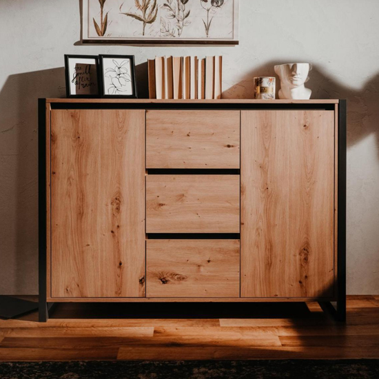 Hercules Wooden Sideboard In Artisan Oak And Anthracite_1