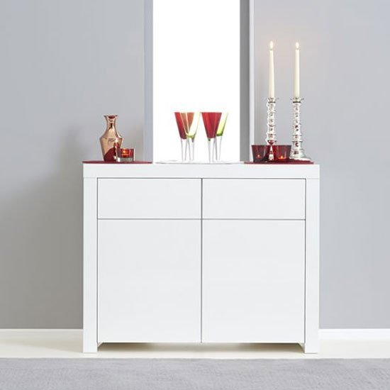 Hereford 2 Doors Sideboard In White High Gloss With 2 Drawers
