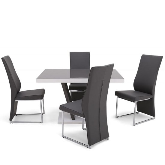 Hereford Glass Dining Table With Grey Gloss 4 Viva Grey Chairs