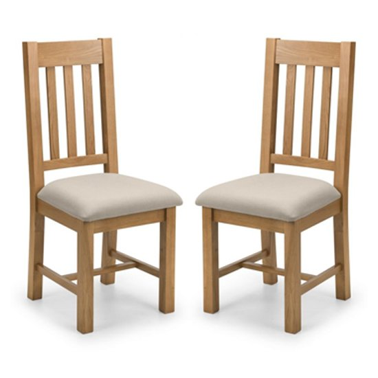 Hereford Waxed Oak Dining Chair In Pair