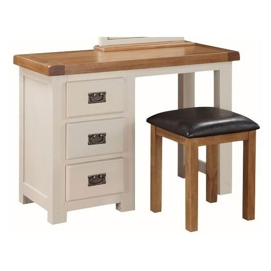 Heritage Dressing Table With Stool In Stone Painted