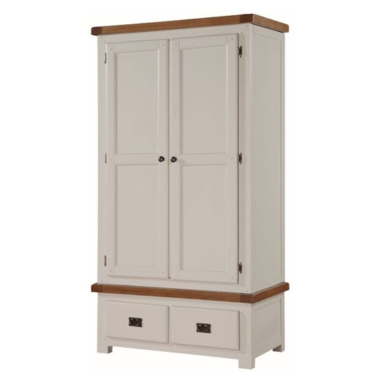 Heritage Wooden 2 Doors Wardrobe In Stone Painted With 2 Drawers