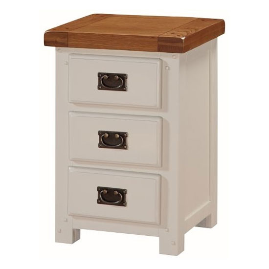 Heritage Wooden Bedside Cabinet In Stone Painted With 3 Drawers