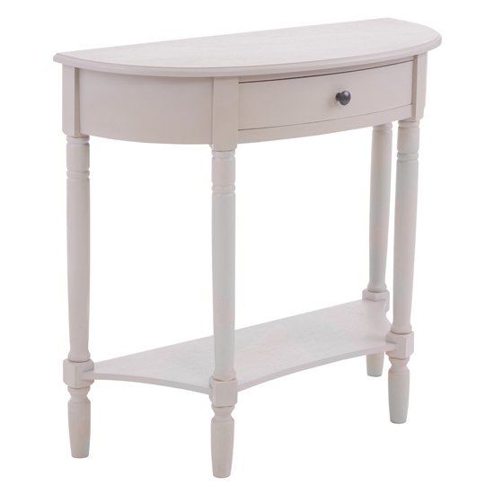 View Heritox half moon 1 drawer console table in vintage grey