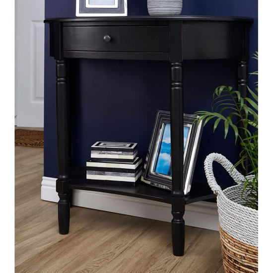 Heritox Half Moon Wooden 1 Drawer Console Table In Black_1