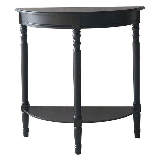 View Heritox half moon wooden console table in black