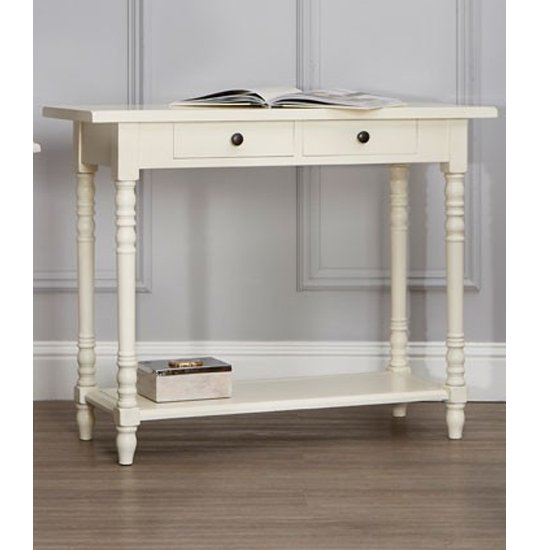 Heritox Wooden 2 Drawers Console Table In Antique White