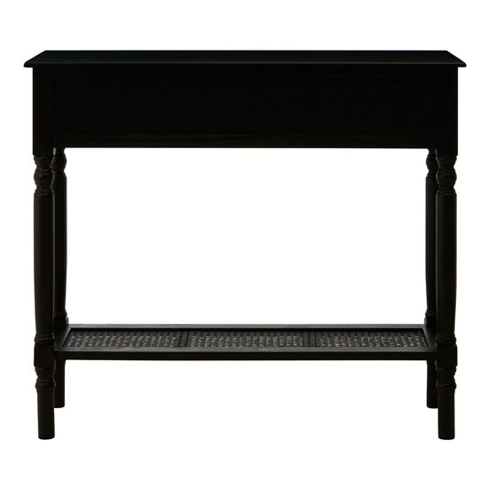 Heritox Wooden 2 Drawers Console Table In Black_3