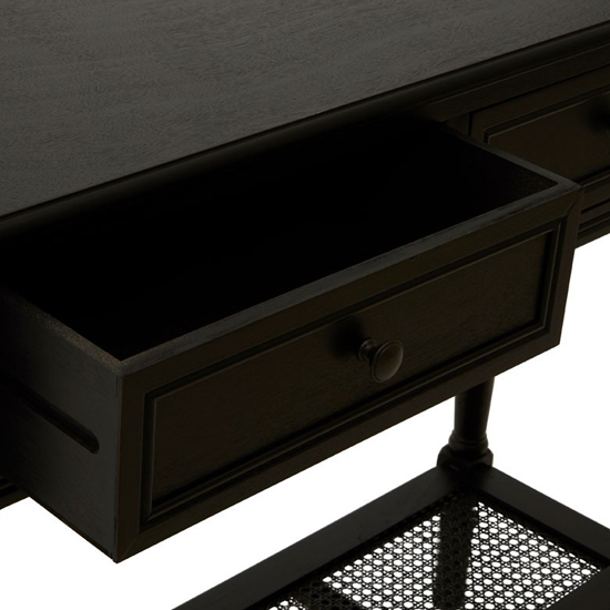 Heritox Wooden 2 Drawers Console Table In Black_5