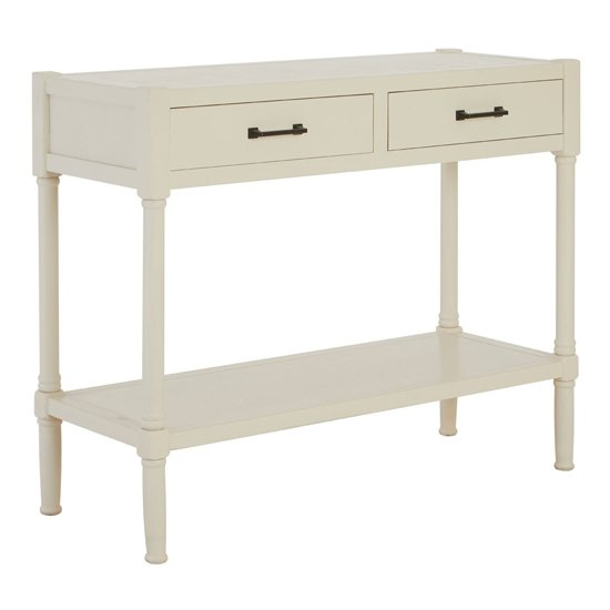 Heritox Wooden 2 Drawers Console Table In Vintage Grey