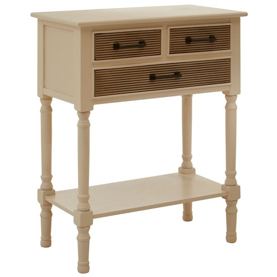 Heritox Wooden 3 Drawers Console Table In Pearl White