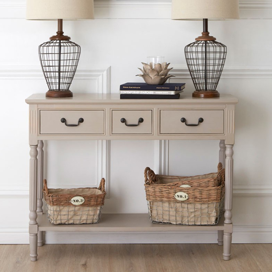 View Heritox wooden 3 drawers console table in vintage grey
