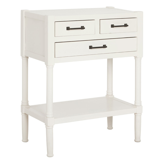 Product photograph showing Heritox Wooden 3 Drawers Console Table In White