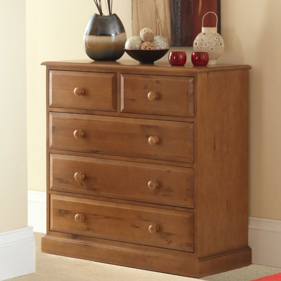 Herndon Wooden Chest Of Drawers In Lacquered With 5 Drawers