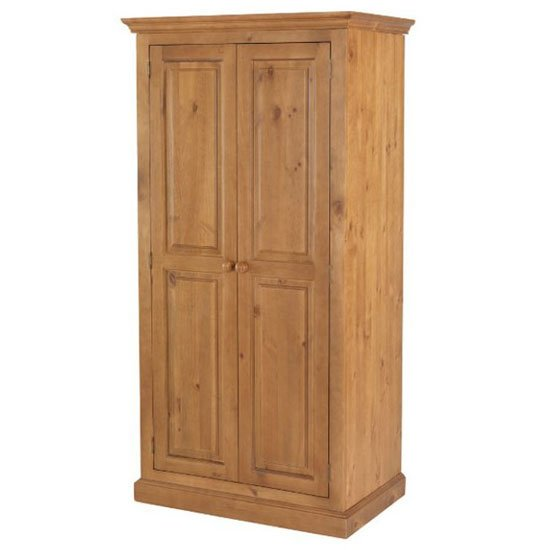 Herndon Wooden Double Door Wardrobe In Lacquered