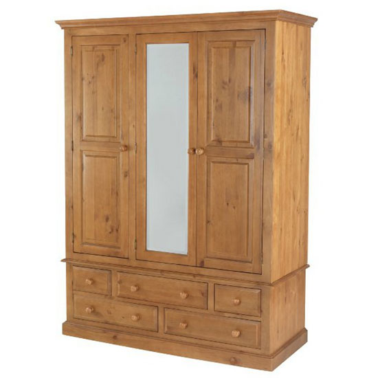 Herndon Wooden Triple Door Wardrobe In Lacquered With Mirror