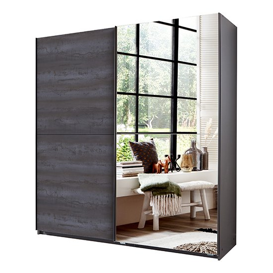Herne Sliding Door Mirrored Wardrobe In Graphite_2