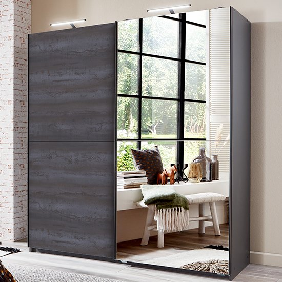 Herne Sliding Door Mirrored Wardrobe In Graphite_1