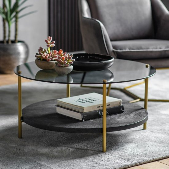 Hernip Black Glass Round Coffee Table With Gold Legs