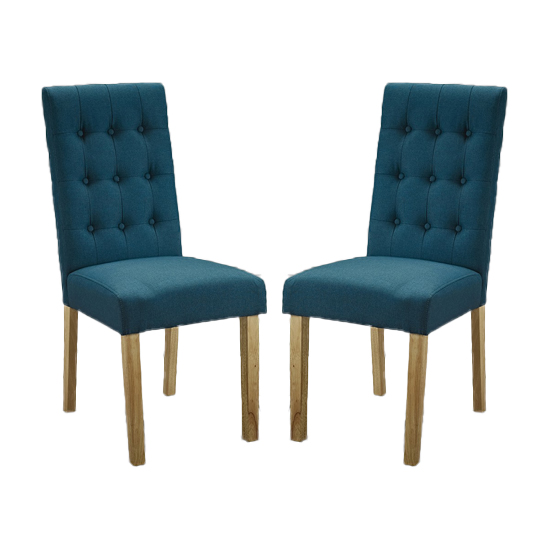 Heskin Dining Chair In Teal Linen Style Fabric in A Pair