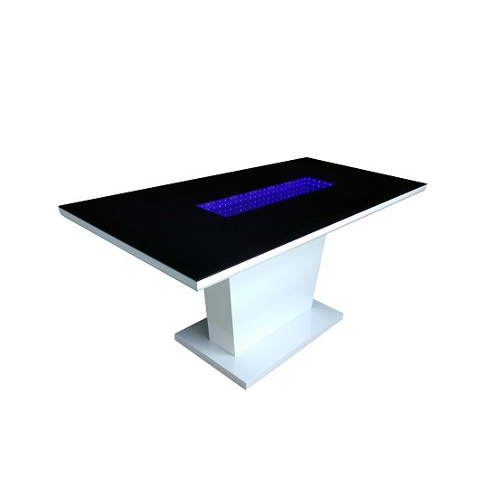 Hesper Glass Dining Table In Black And White High Gloss With LED_2