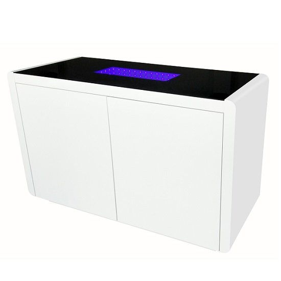 Hesper Glass Sideboard In Black And White High Gloss With LED