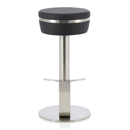 Heston Bar Stool In Black Faux Leather With Stainless Steel Base