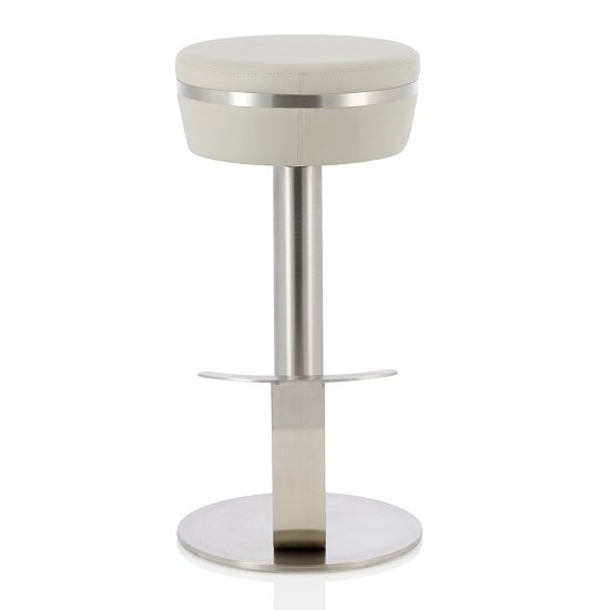 Heston Bar Stool In Grey Faux Leather With Stainless Steel Base