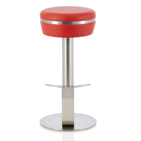Heston Bar Stool In Red Faux Leather With Stainless Steel Base
