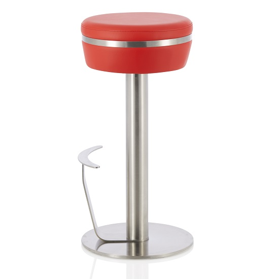 Heston Bar Stool In Red Faux Leather With Stainless Steel Base_2
