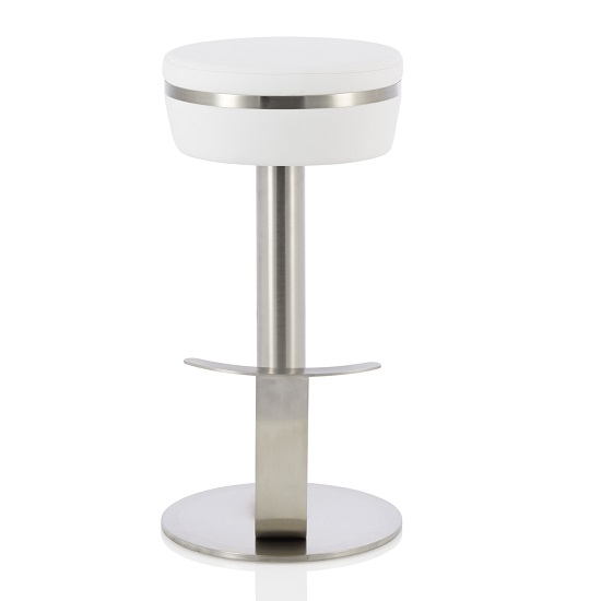 Heston Bar Stool In White Faux Leather With Stainless Steel Base
