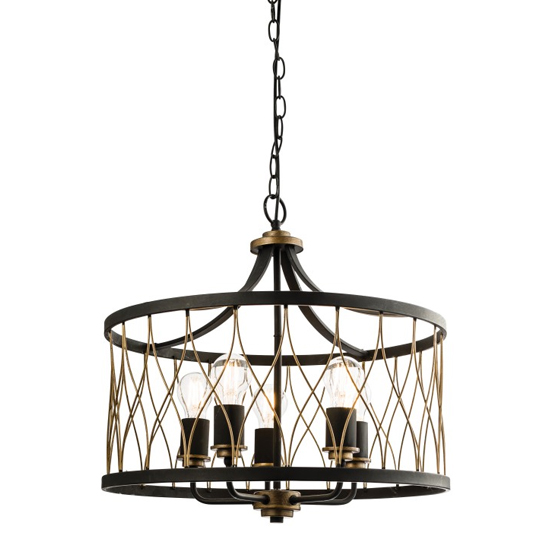 Heston Wall Hung Pendant Light In Black And Brass