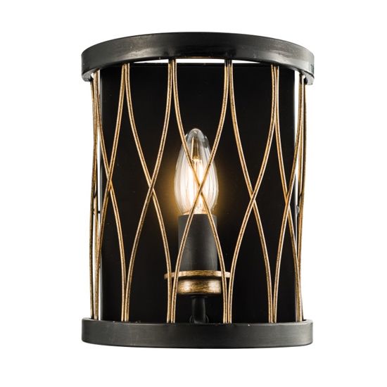 Heston Wall Light In Black And Brass