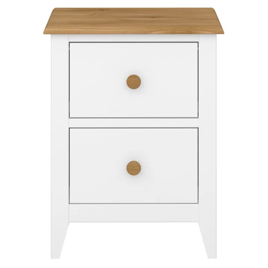 Heston Wooden Bedside Cabinet In White And Pine With 2 Drawers_2