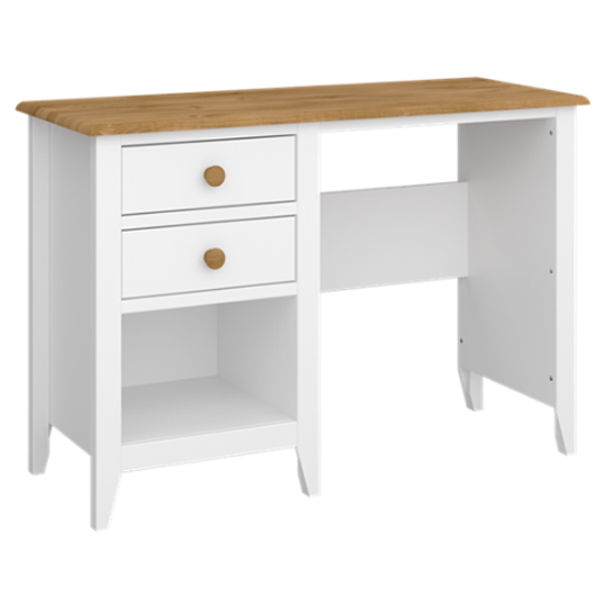 Heston Wooden Laptop Desk In White And Pine With 2 Drawers