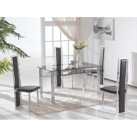 Rimini Large Clear Glass Dining Table with 4 Black D231 Chairs