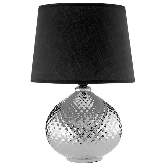 Hetti Black Fabric Shade Table Lamp With Chrome Base