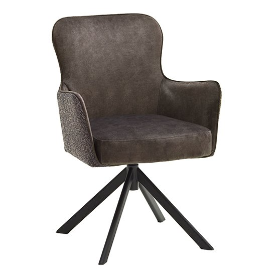Hexo Cappuccino Fabric Dining Chair With Black Oval Frame