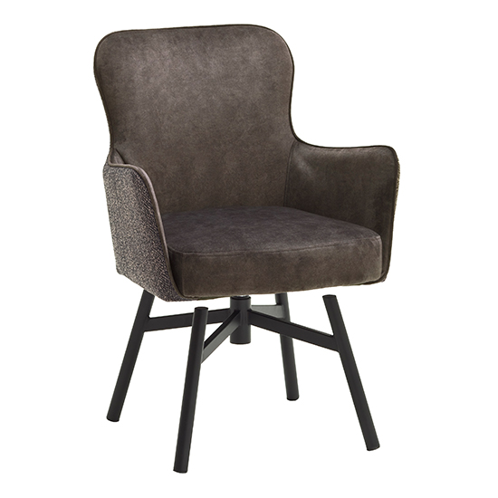 Hexo Cappuccino Fabric Dining Chair With Black Round Frame