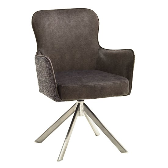 Hexo Cappuccino Fabric Dining Chair With Brushed Oval Frame