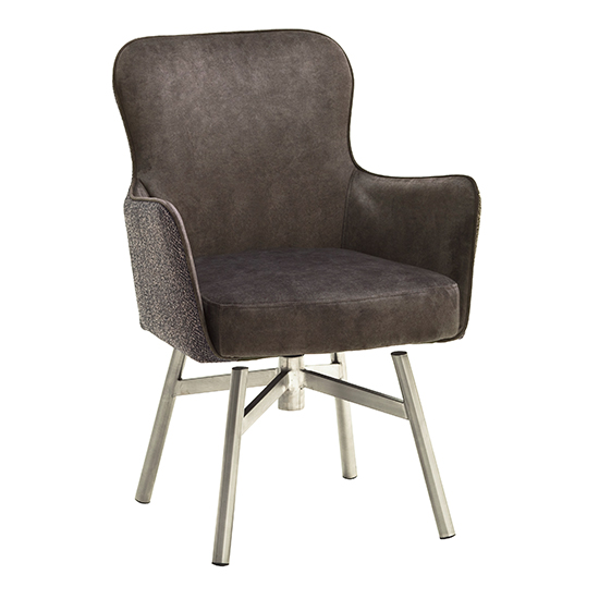 Hexo Cappuccino Fabric Dining Chair With Brushed Round Frame