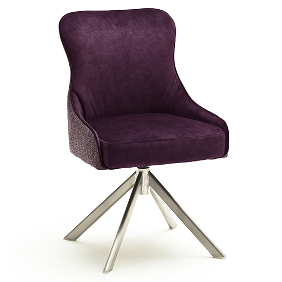Hexo Fabric Dining Chair In Merlot And Brushed Oval Frame