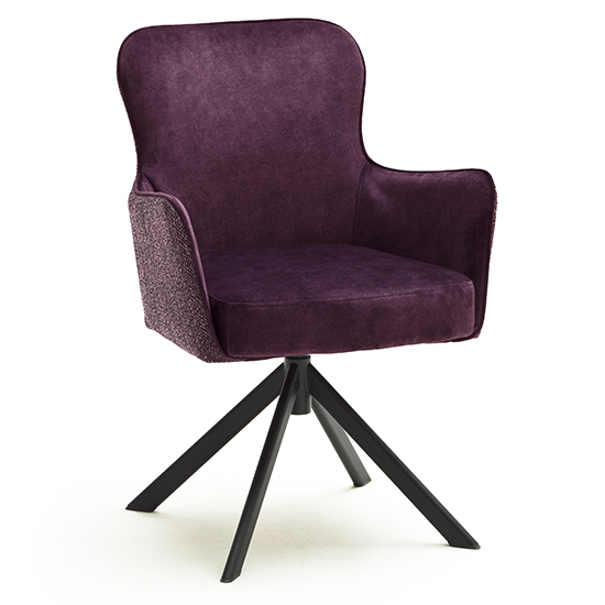 Hexo Merlot Fabric Dining Chair With Black Oval Frame