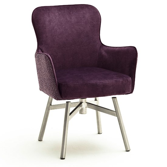Hexo Merlot Fabric Dining Chair With Brushed Round Frame