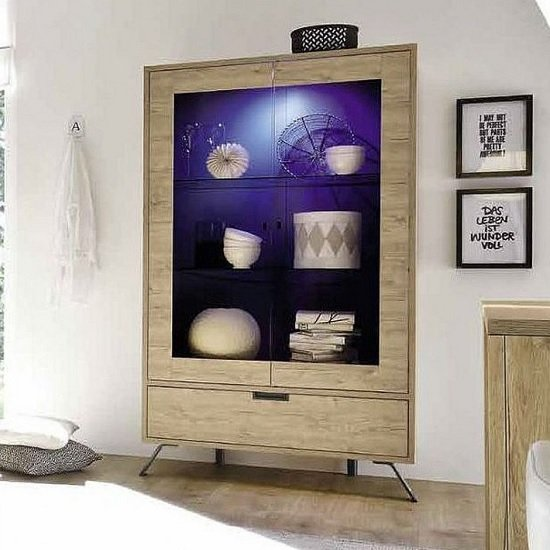 Heyford Display Cabinet In Sherwood Oak With 2 Doors And LED