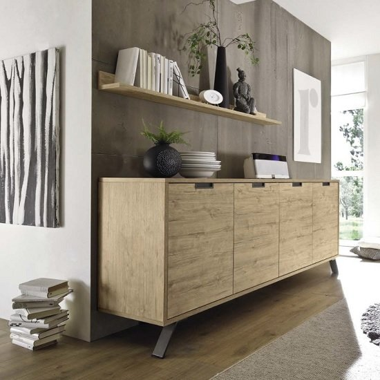 Heyford Wooden Sideboard Large In Sherwood Oak With 4 Doors