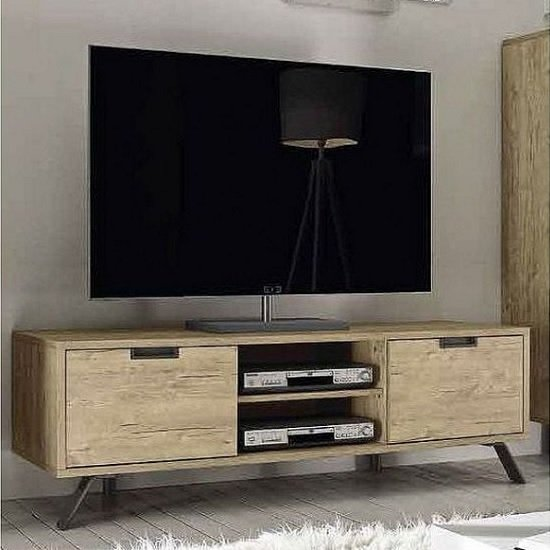 Heyford Wooden TV Stand In Sherwood Oak With 2 Doors